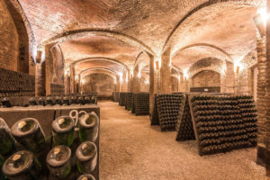 The underground cathedal-like spumante cellar in Canelli