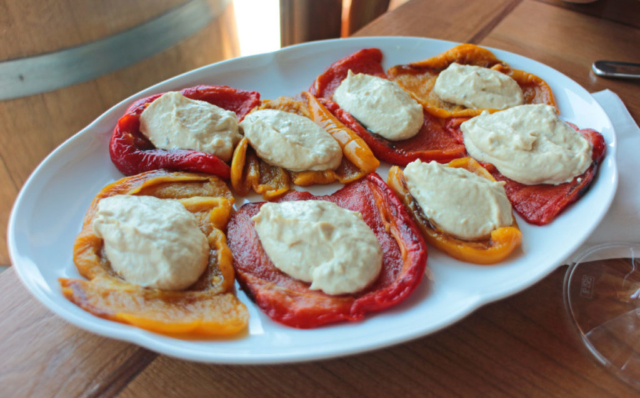 Sweet yellow and red peppers with tuna sauce